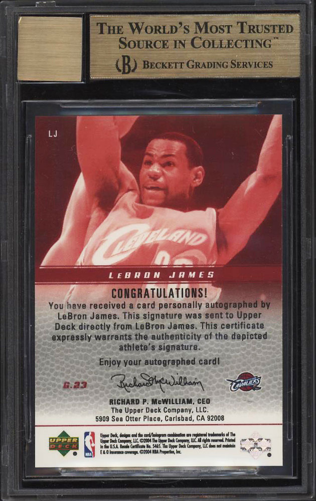 2003 Upper Deck Phenomenal Beginning LeBron James ROOKIE AUTO /23 BGS 9.5 (PWCC) - Image 2