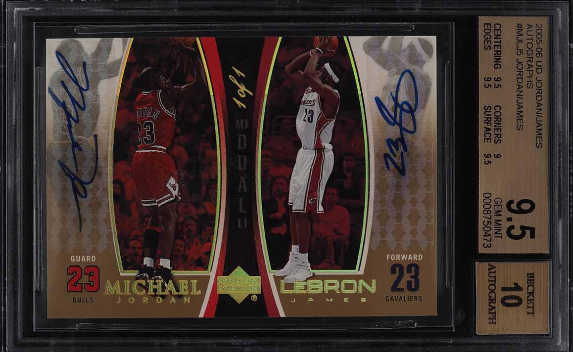2005 UD MJ/LJ Gold Michael Jordan & LeBron James AUTO 1/1 #MJLJ5 BGS 9.5 (PWCC) - Image 1