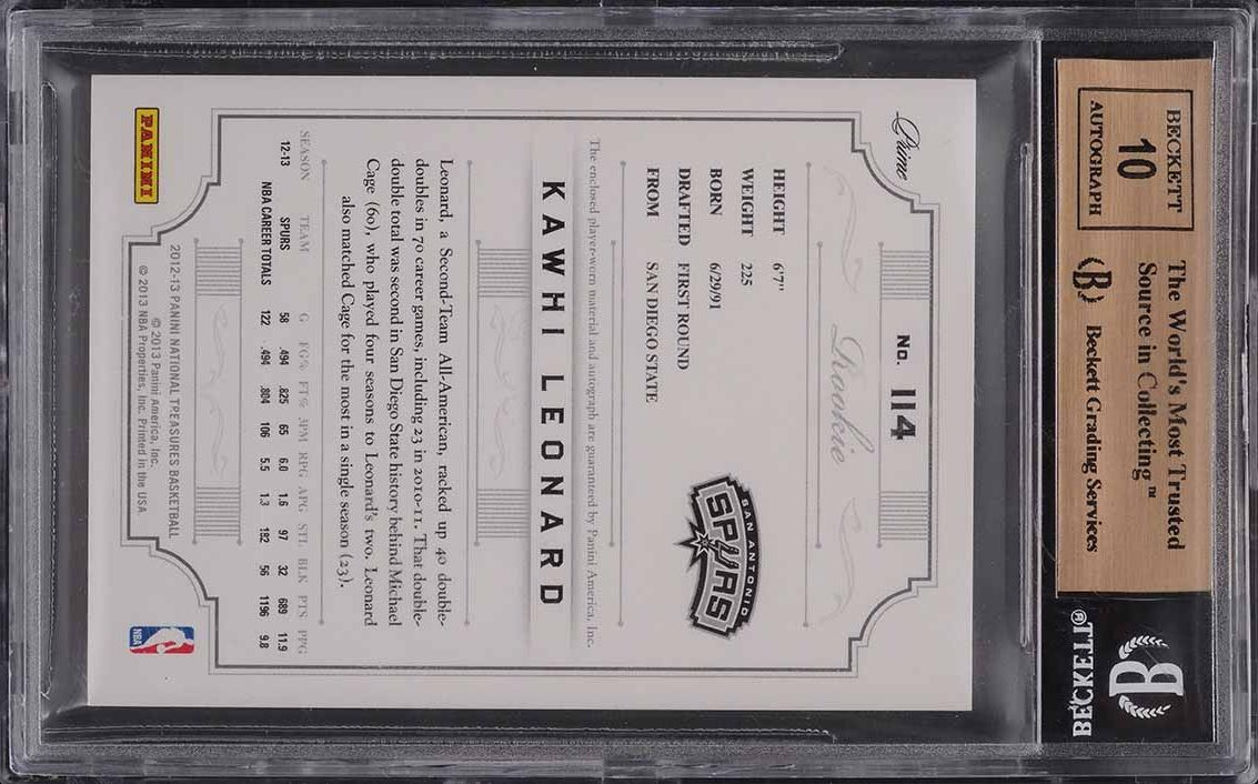 2012 National Treasures Jersey Number Kawhi Leonard RC PATCH AUTO /25 BGS 9.5 - Image 2