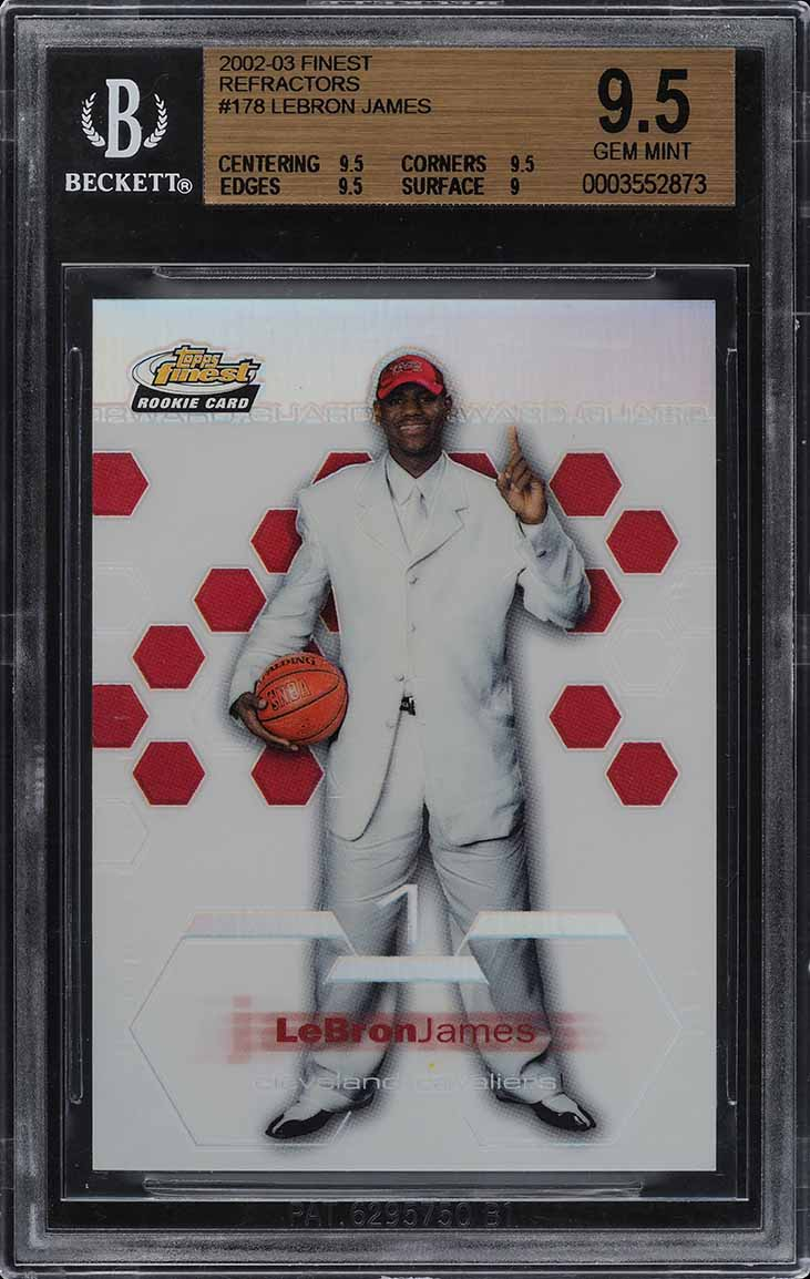 2002 Finest Refractor LeBron James ROOKIE RC /250 #178 BGS 9.5 GEM MINT (PWCC) - Image 1