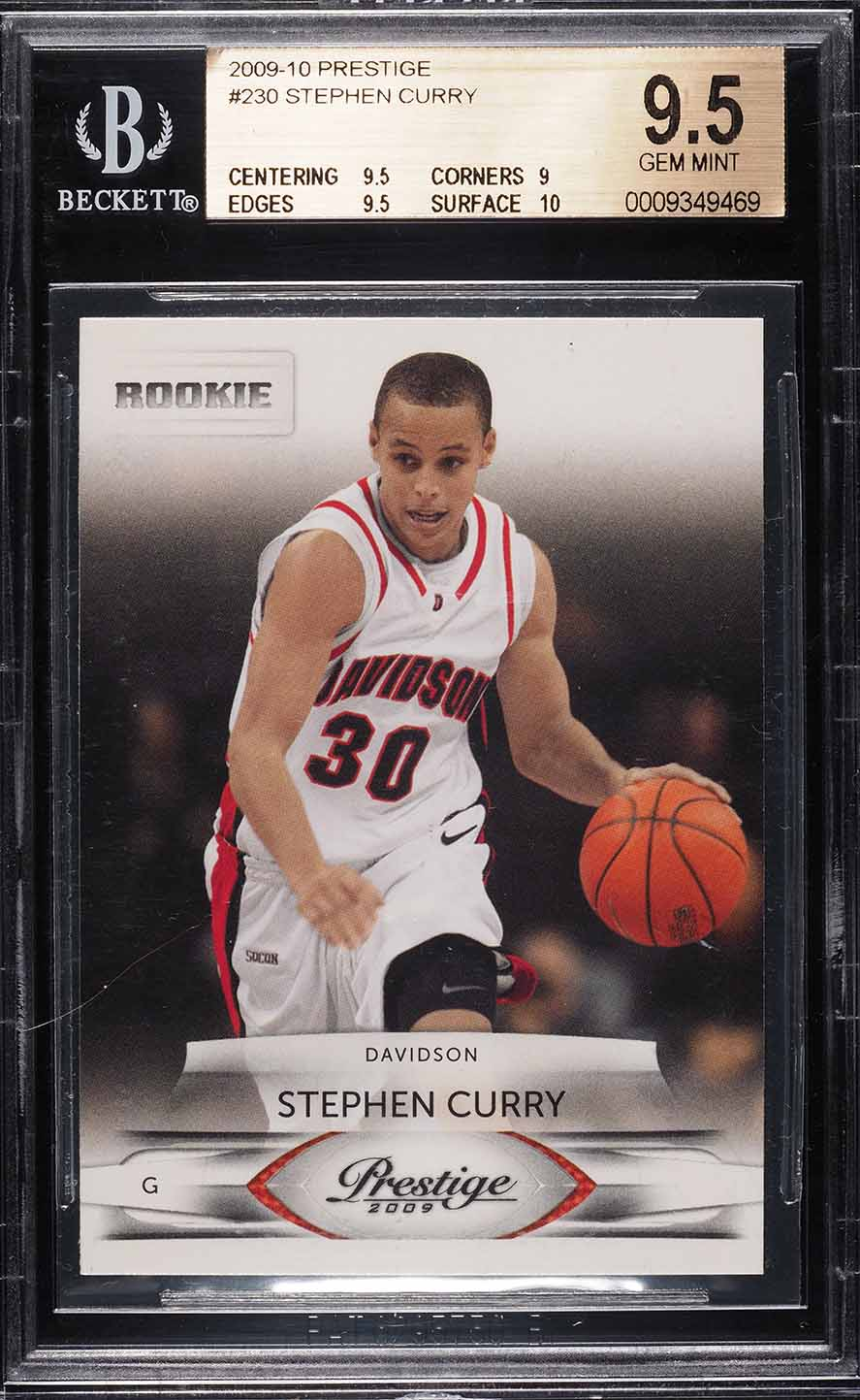 2009 Panini Prestige Stephen Curry Rookie Rc 230 Bgs 95