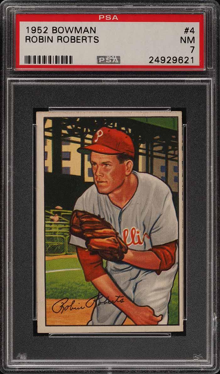 1952 Bowman SETBREAK Robin Roberts #4 PSA 7 NRMT (PWCC) - Image 1