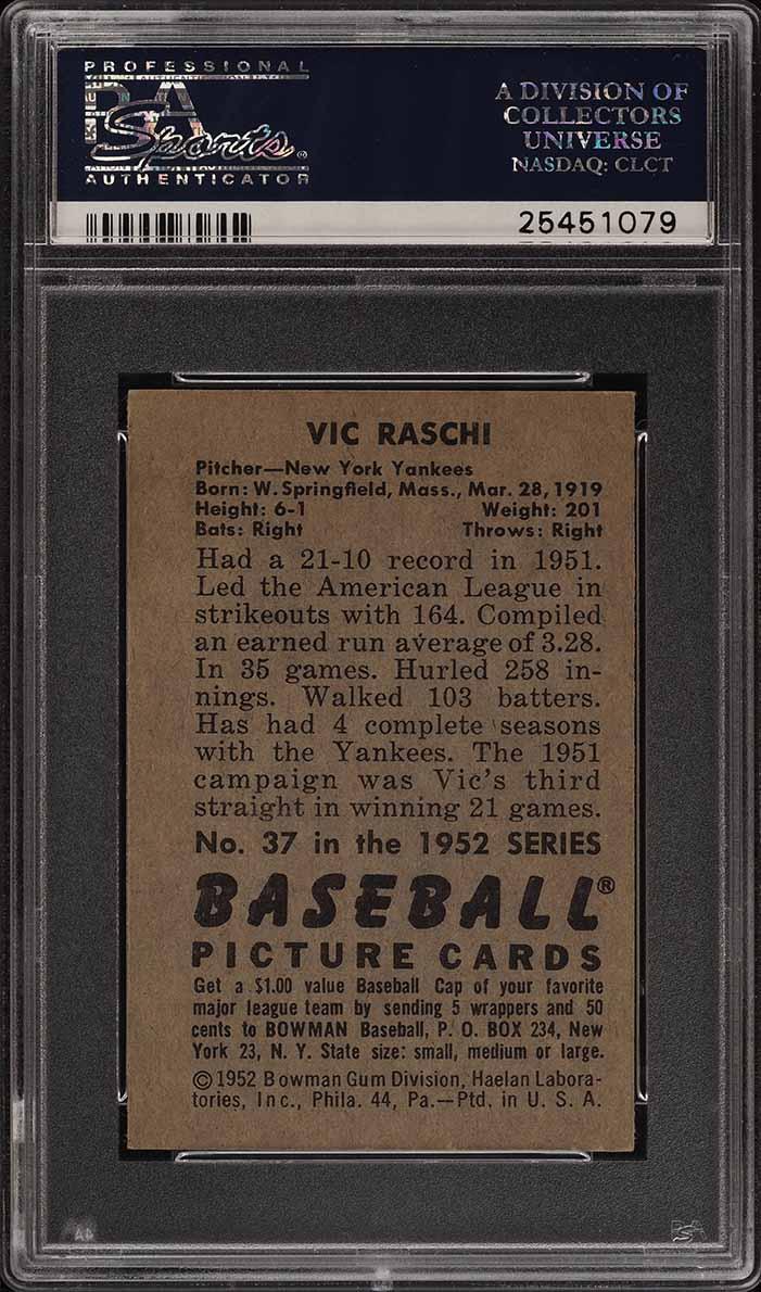 1952 Bowman SETBREAK Vic Raschi #37 PSA 7 NRMT (PWCC) - Image 2