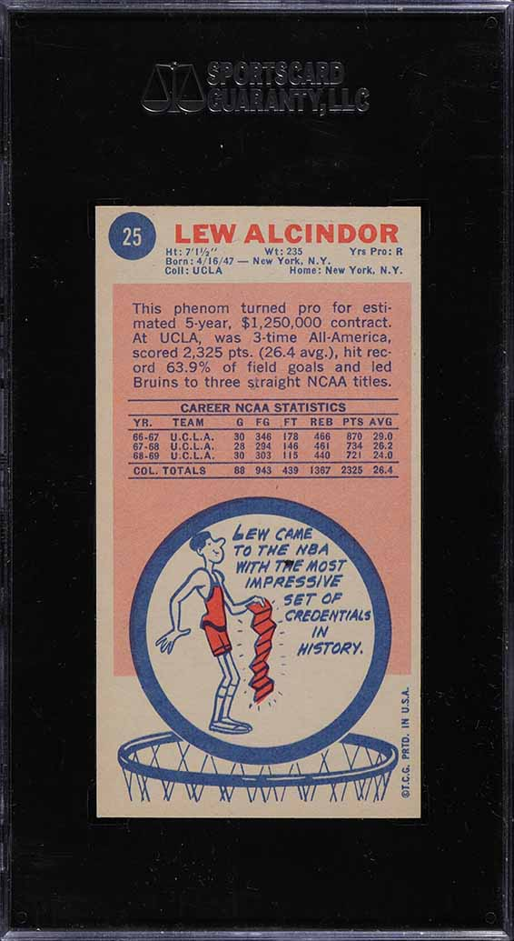1969 Topps Basketball Lew Alcindor ROOKIE RC #25 SGC 8.5 NM-MT+ - Image 2