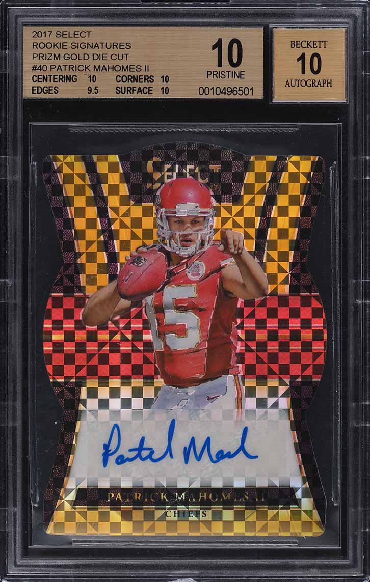 2017 Select Gold Die-Cut Patrick Mahomes II ROOKIE RC AUTO /10 BGS 10 PRISTINE - Image 1