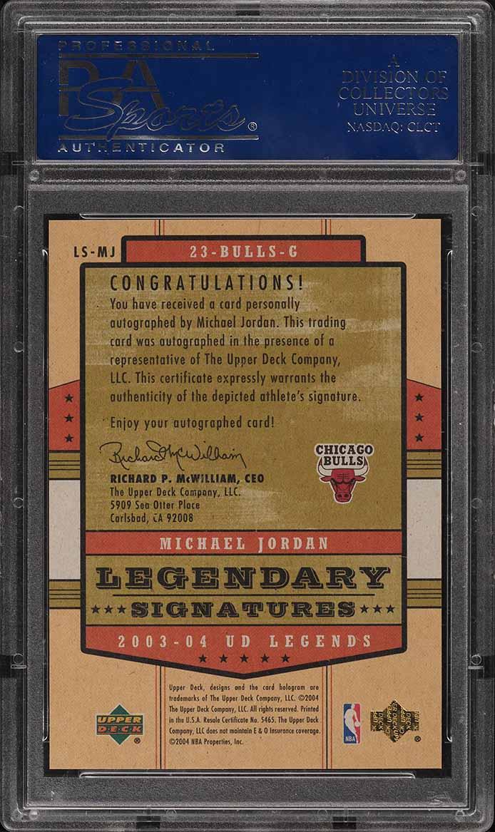 2003 Upper Deck Legends Legendary Signatures Michael Jordan AUTO PSA 10 GEM MINT - Image 2
