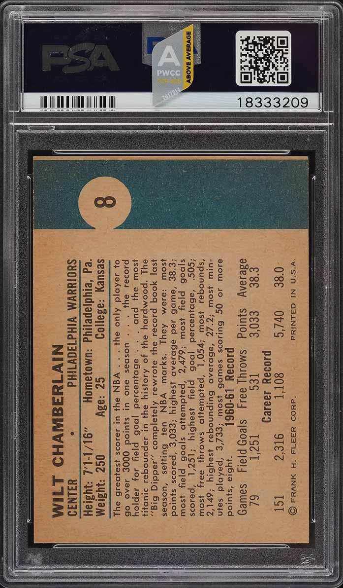 1961 Fleer Basketball Wilt Chamberlain ROOKIE RC #8 PSA 9 MINT (PWCC-A) - Image 2