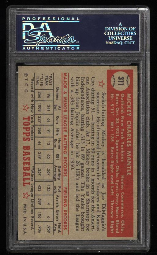 1952 Topps Mickey Mantle #311 PSA Authentic, GD+/VG (PWCC) - Image 2