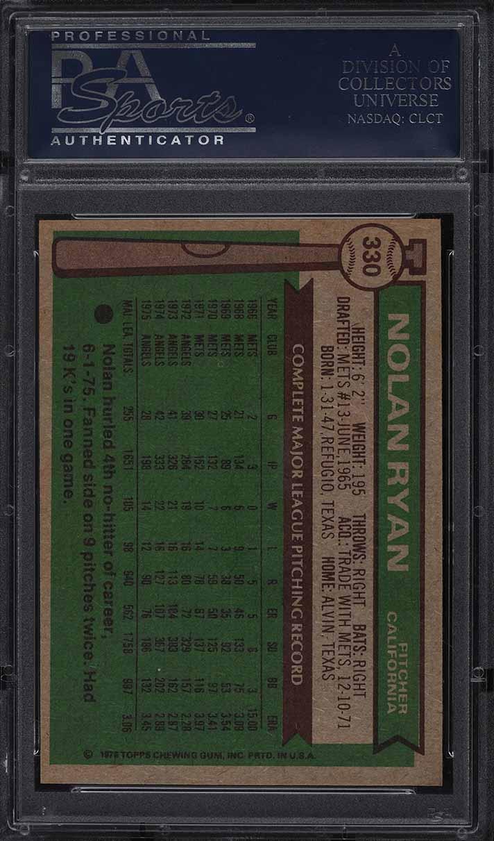 1976 Topps Nolan Ryan #330 PSA 10 GEM MINT - Image 2