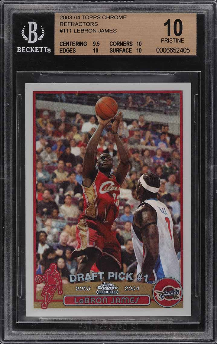 2003 Topps Chrome Refractor LeBron James ROOKIE RC #111 BGS 10 PRISTINE (PWCC) - Image 1