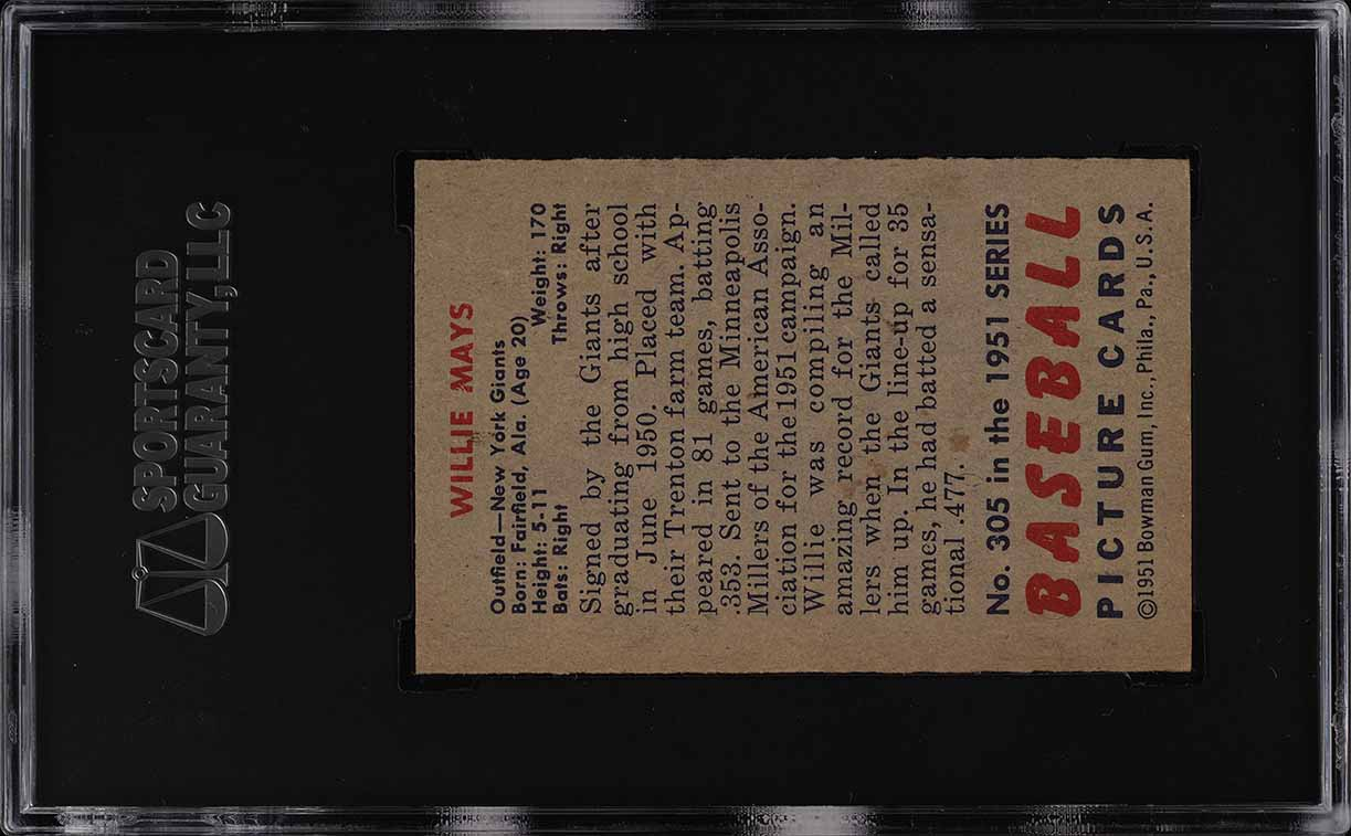 1951 Bowman Willie Mays ROOKIE RC #305 SGC 7.5 NRMT+ (PWCC) - Image 2