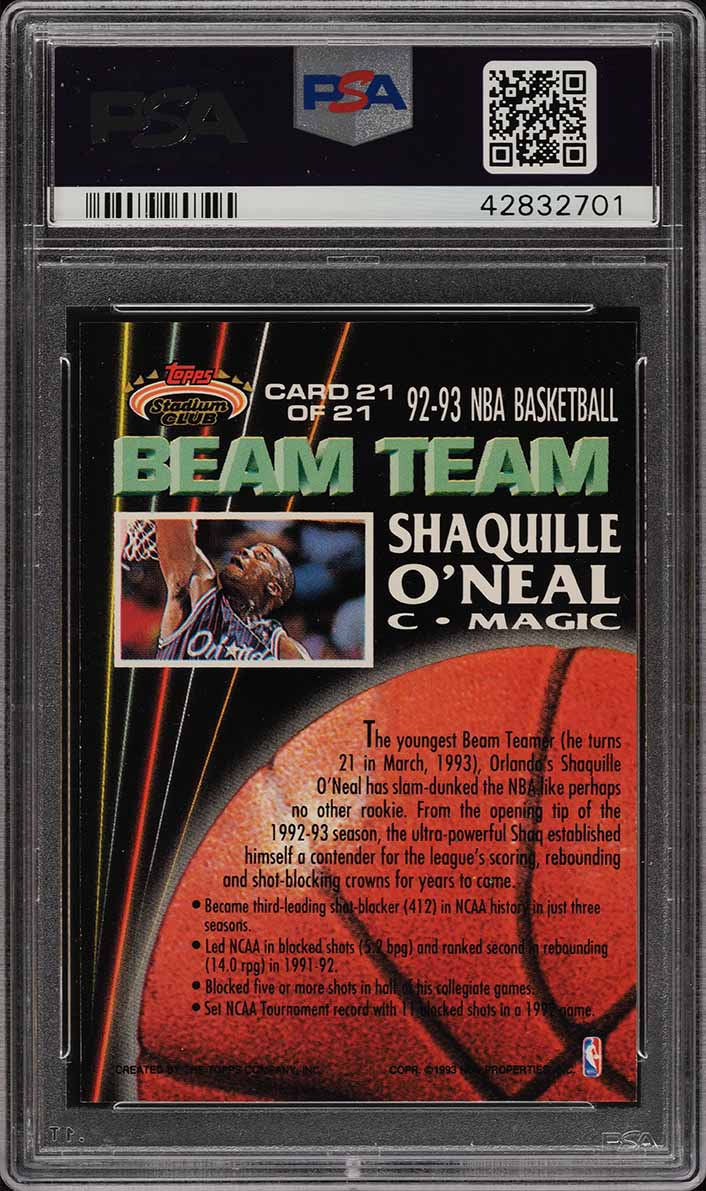1992 Stadium Club Beam Team Members Only Shaquille O'Neal ROOKIE PSA 9 (PWCC) - Image 2