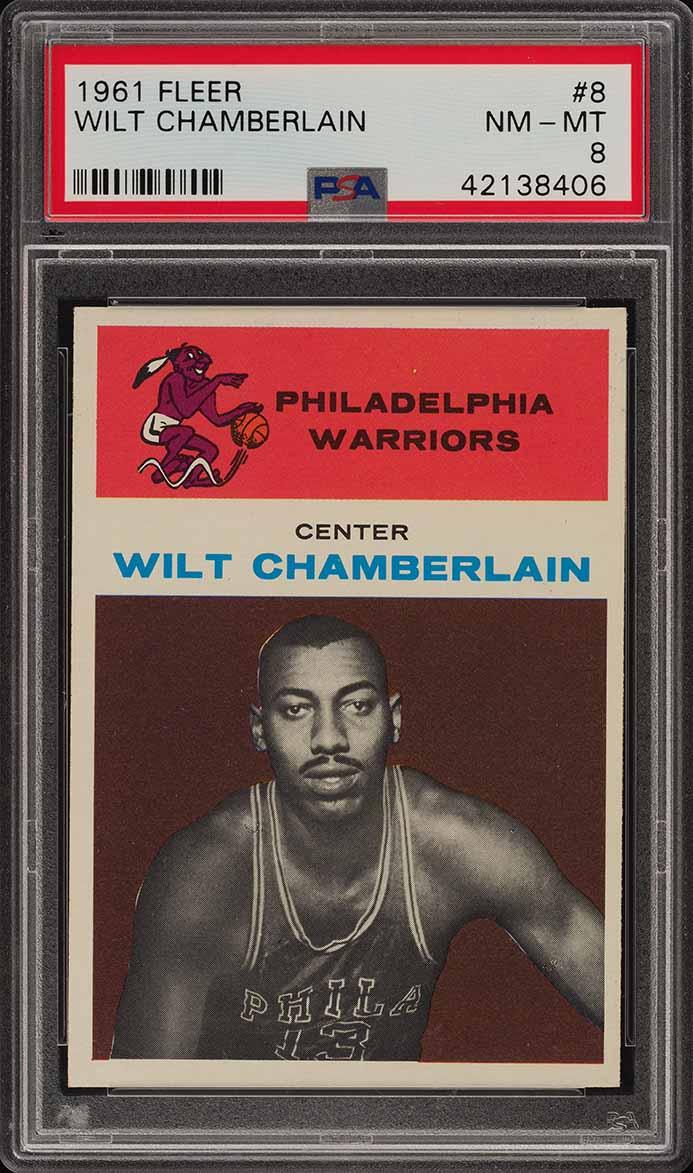 1961 Fleer Basketball Wilt Chamberlain ROOKIE RC #8 PSA 8 NM-MT (PWCC-A) - Image 1
