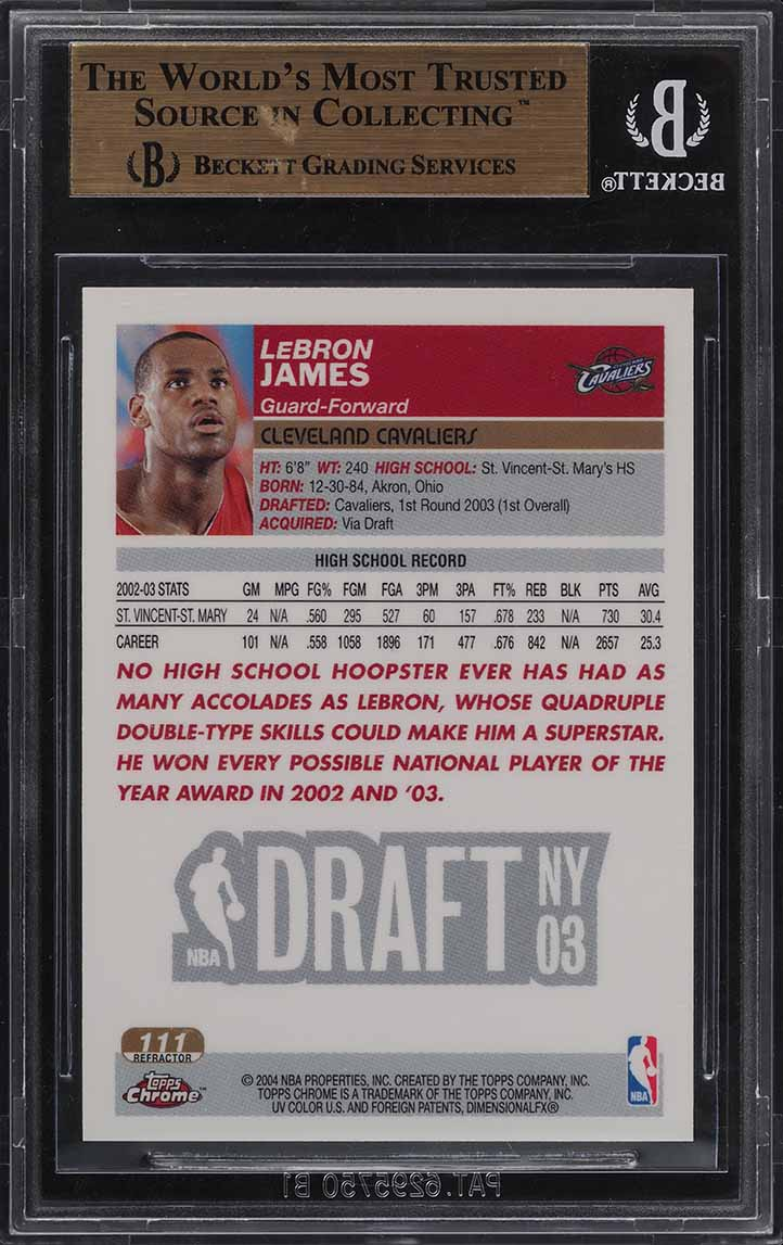 2003 Topps Chrome Refractor LeBron James ROOKIE RC #111 BGS 9.5 GEM MINT (PWCC) - Image 2