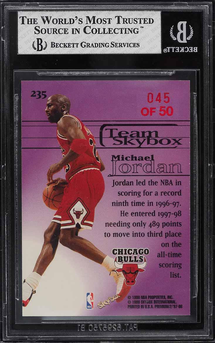 1997 Skybox Premium Star Rubies Michael Jordan # 45/50 #235 BGS 8 NM-MT - Image 2