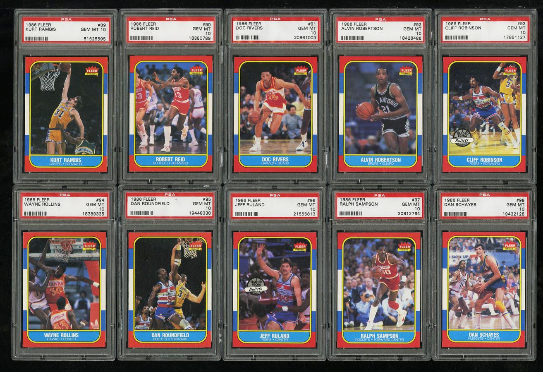 1986 Fleer Basketball COMPLETE PSA 10 SET Johnny Moore Michael Jordan RC (PWCC) - Image 11