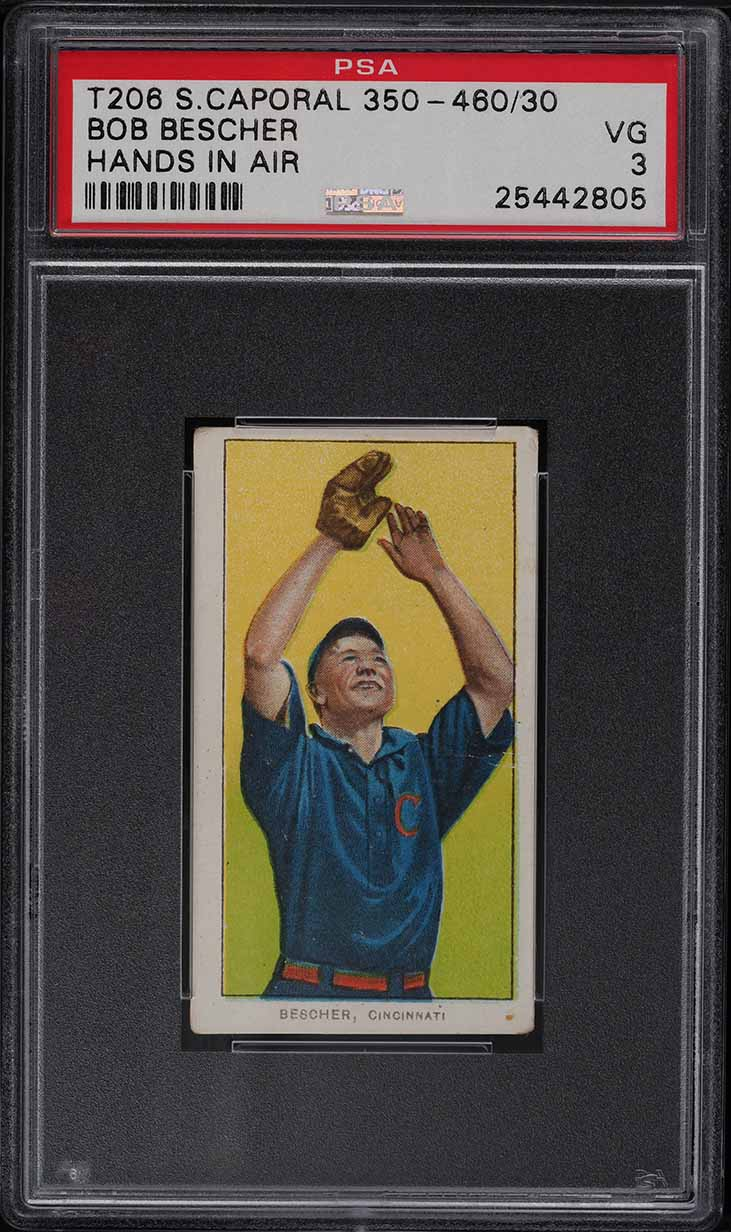 1909-11 T206 Bob Bescher HANDS IN AIR PSA 3 VG - Image 1