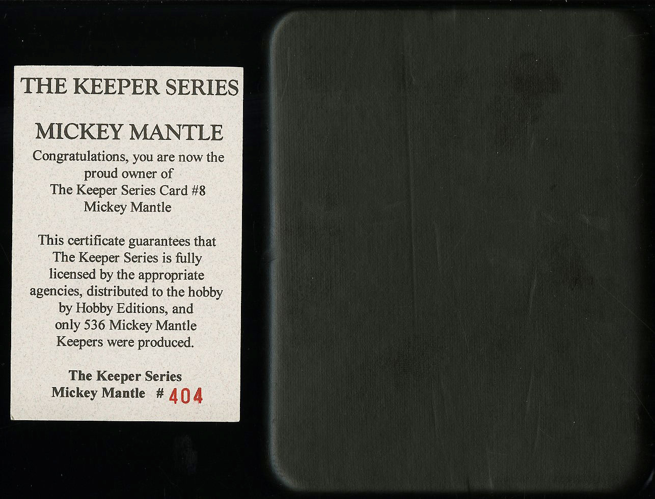 1952 Topps Mickey Mantle #311 The Keeper Series Commemorative /536 COA (PWCC) - Image 3