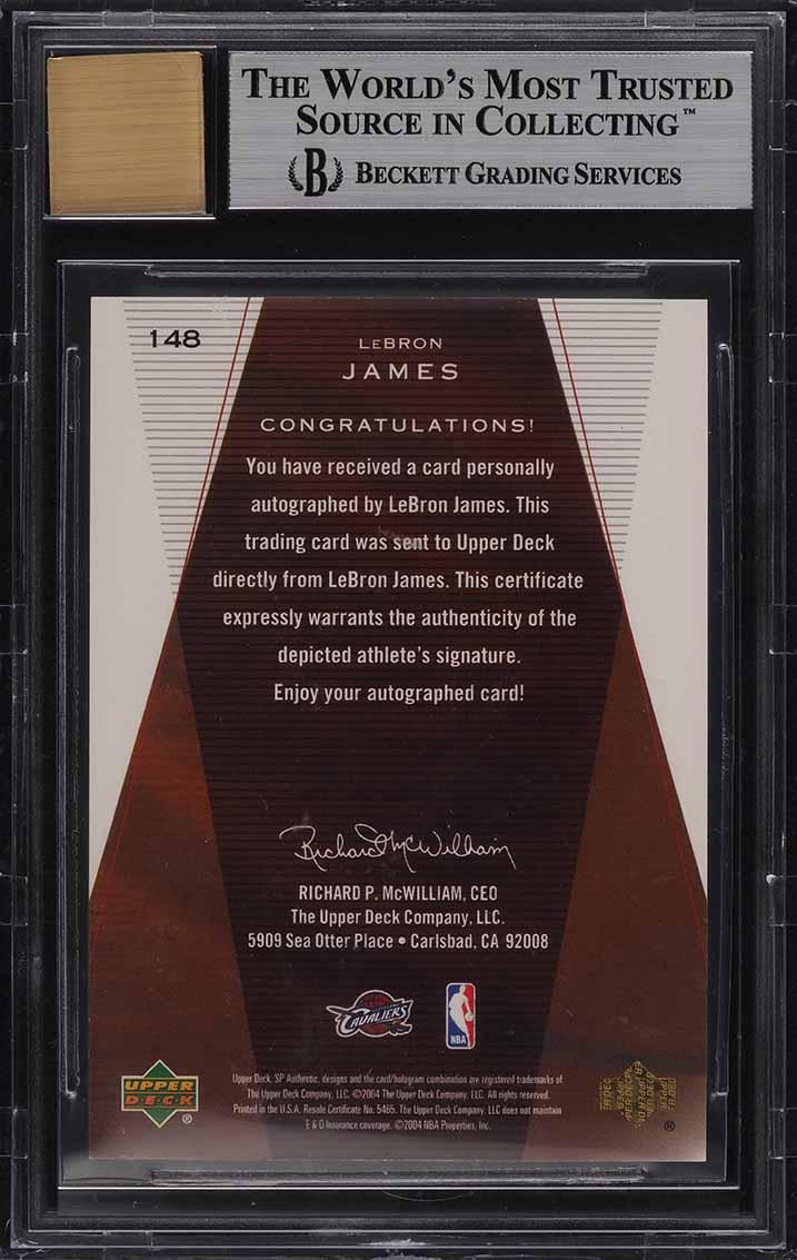 2003 SP Authentic Limited LeBron James ROOKIE RC AUTO /50 #148 BGS 9 MINT - Image 2