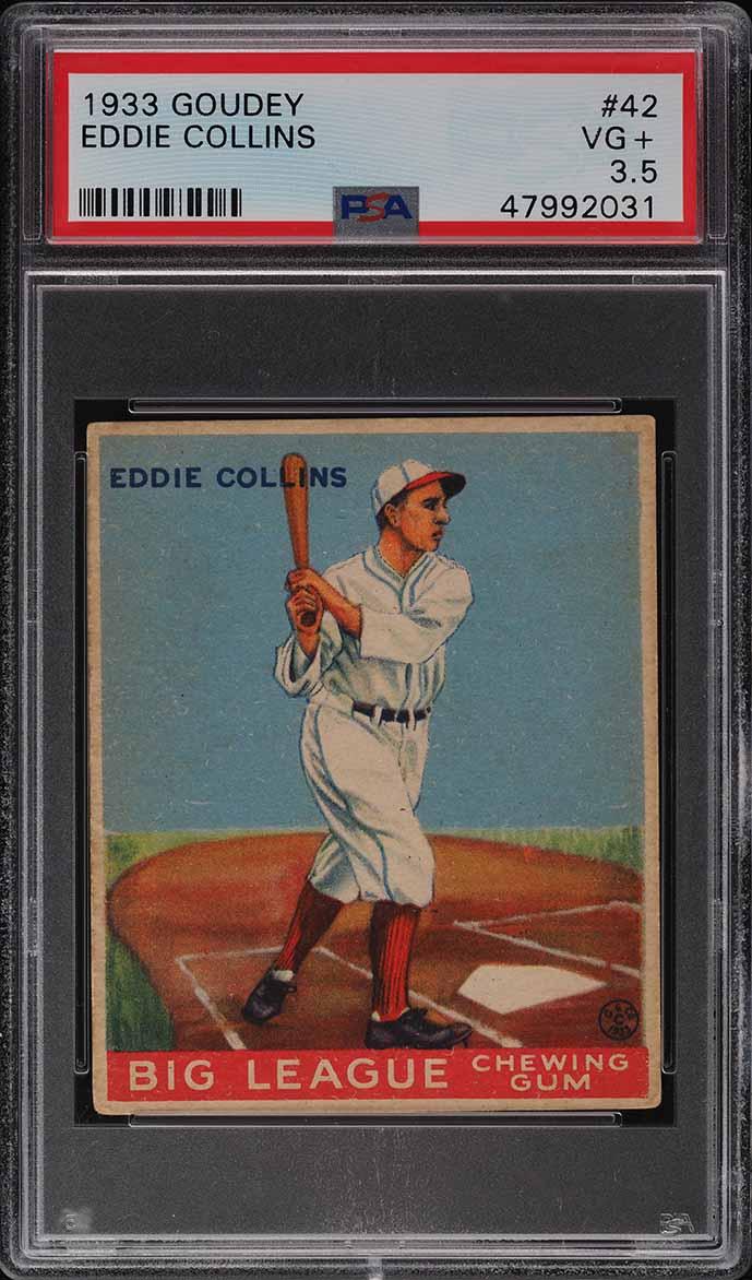 1933 Goudey Eddie Collins #42 PSA 3.5 VG+ - Image 1