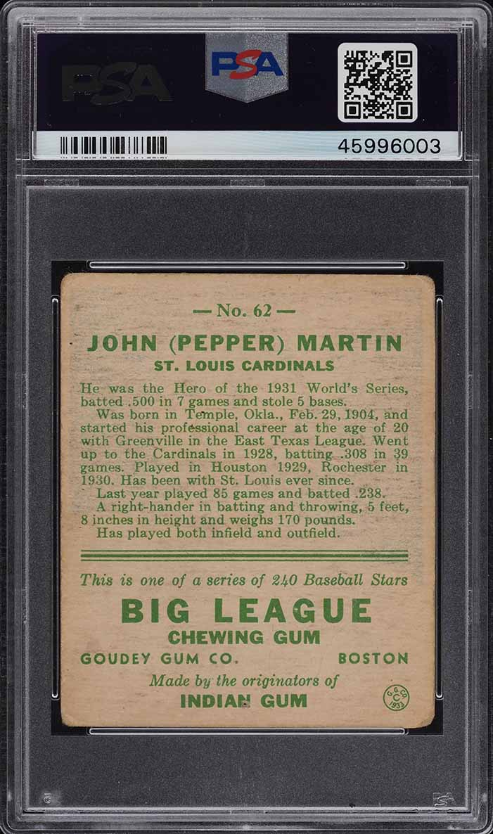 1933 Goudey Pepper Martin #62 PSA 2 GD (PWCC) - Image 2