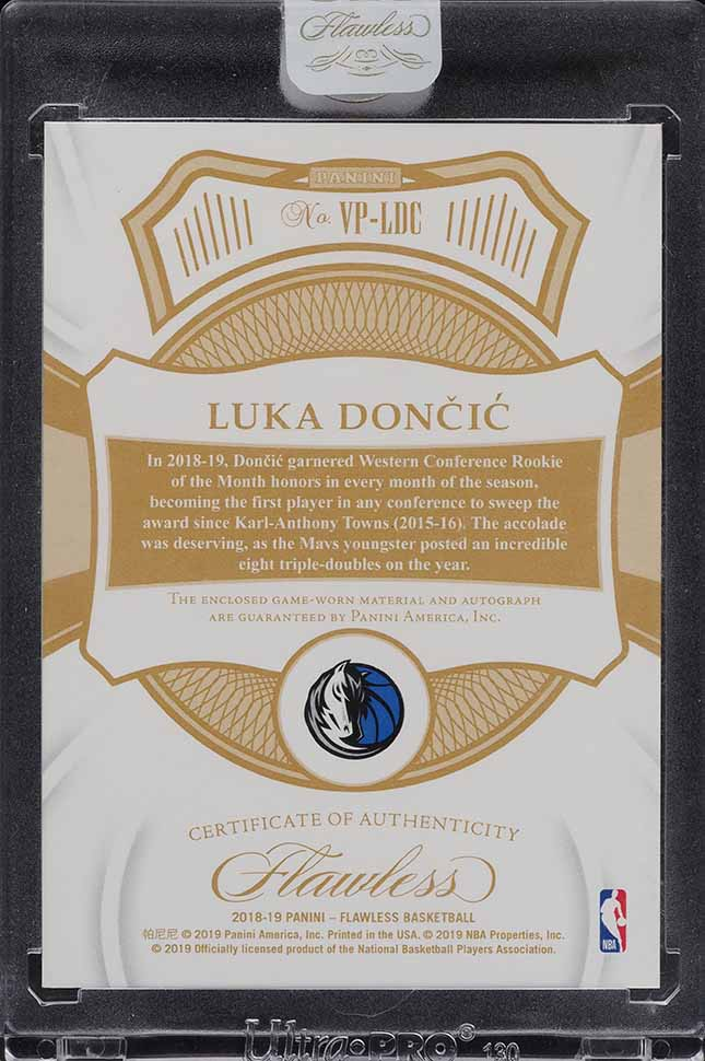 2018 Panini Flawless Ruby Luka Doncic ROOKIE RC 3-CLR PATCH AUTO /15 - Image 2