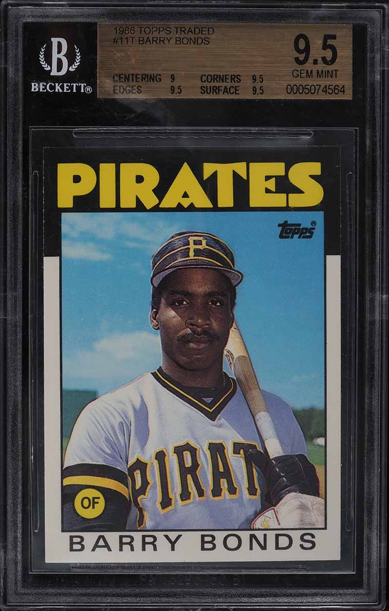 1986 Topps Traded Barry Bonds ROOKIE RC #11T BGS 9.5 GEM MINT - Image 1