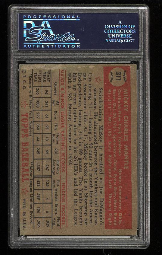 1952 Topps Mickey Mantle #311 PSA AUTH, Altered (PWCC) - Image 2