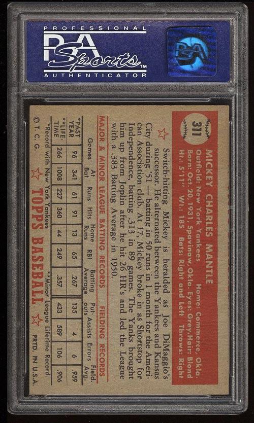 1952 Topps Mickey Mantle #311 PSA 7(oc) NRMT (PWCC) - Image 2
