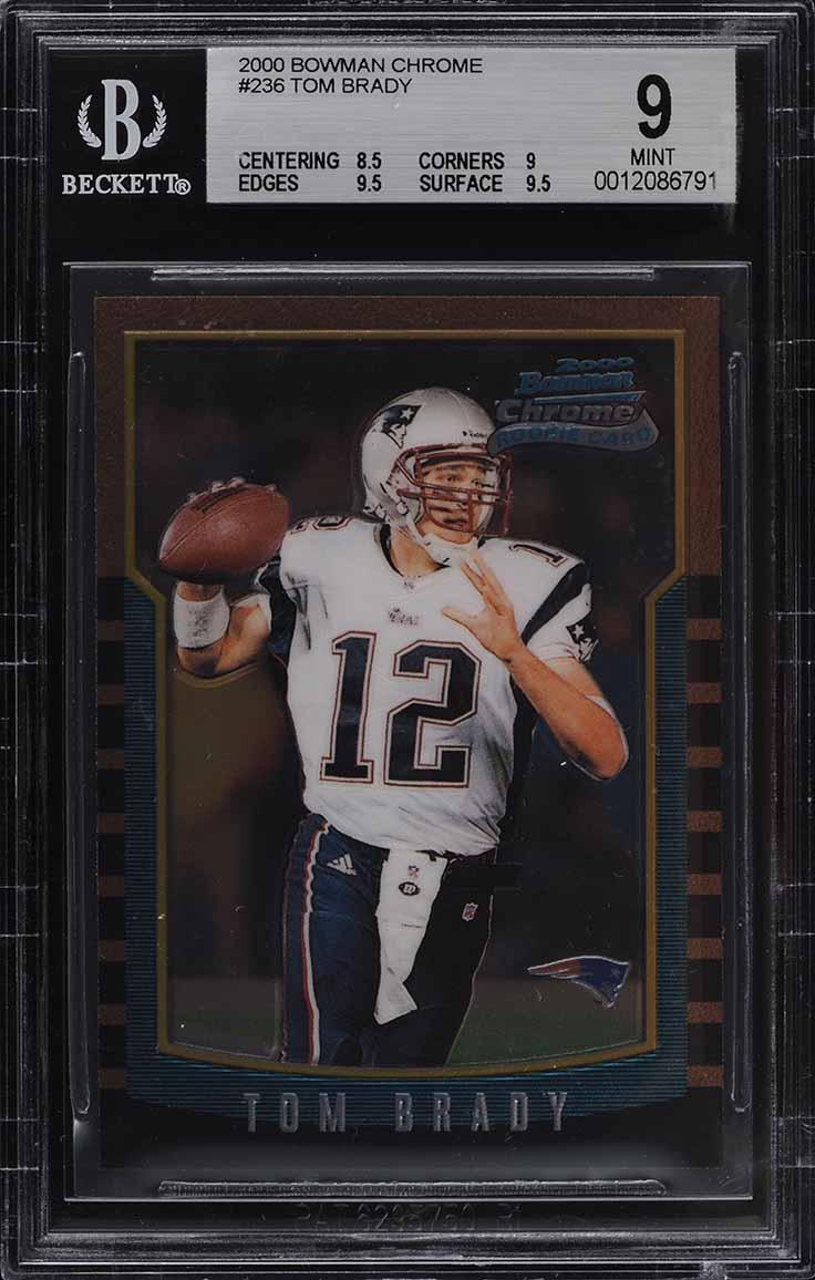 2000 Bowman Chrome Tom Brady ROOKIE RC #236 BGS 9 MINT - Image 1