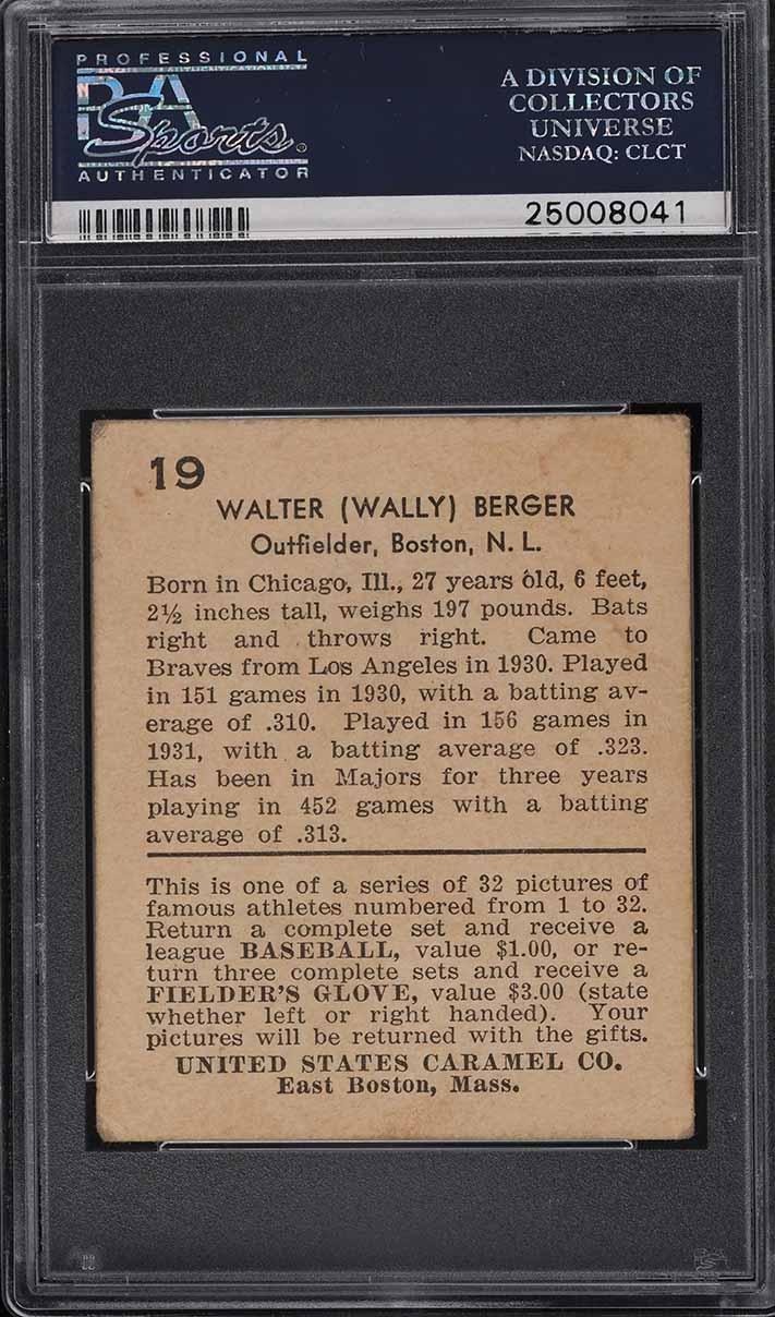1932 U.S. Caramel Wally Berger #19 PSA 3 VG - Image 2
