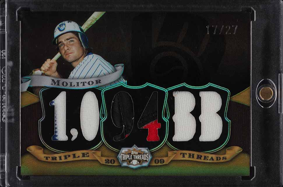 2009 Topps Triple Threads Paul Molitor PATCH /27 #TTR-60 - Image 1
