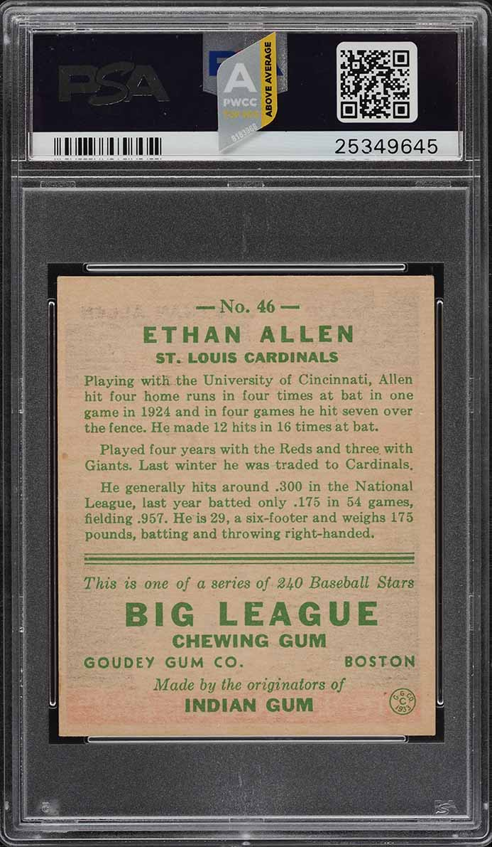 1933 Goudey Ethan Allen #46 PSA 6 EXMT (PWCC-A) - Image 2