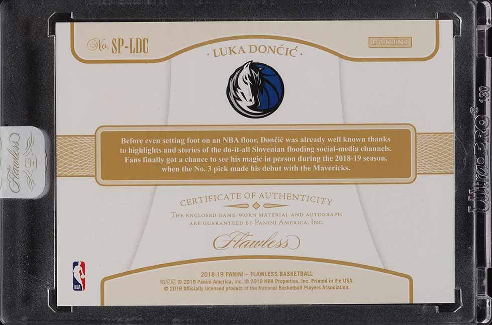 2018 Panini Flawless Luka Doncic ROOKIE RC 3-CLR PATCH AUTO 23/25 #SP-LDC - Image 2