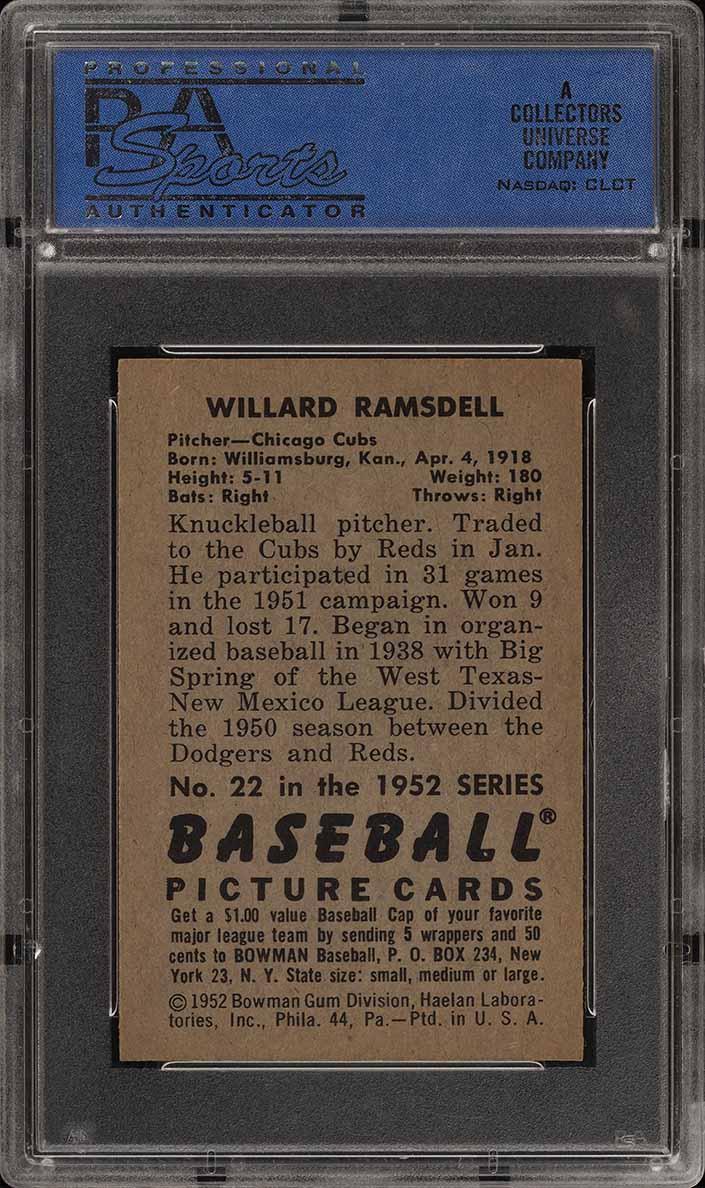 1952 Bowman SETBREAK Willard Ramsdell #22 PSA 8 NM-MT (PWCC) - Image 2