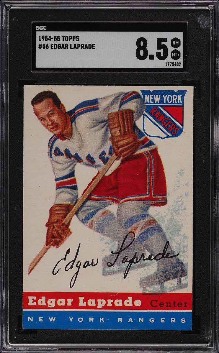 1954 Topps Hockey Edgar Laprade #56 SGC 8.5 NM-MT+ - Image 1