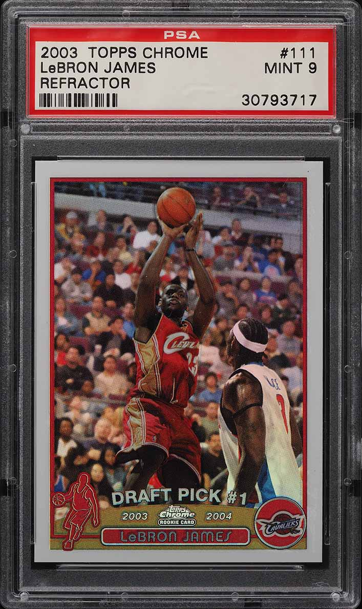 2003 Topps Chrome Refractor LeBron James ROOKIE RC #111 PSA 9 MINT - Image 1