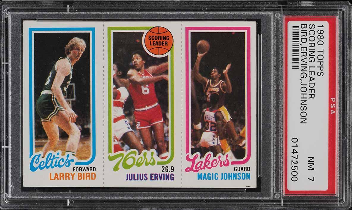 1980 Topps Basketball Larry Bird & Magic Johnson ROOKIE RC PSA 7 NRMT (PWCC-A) - Image 1