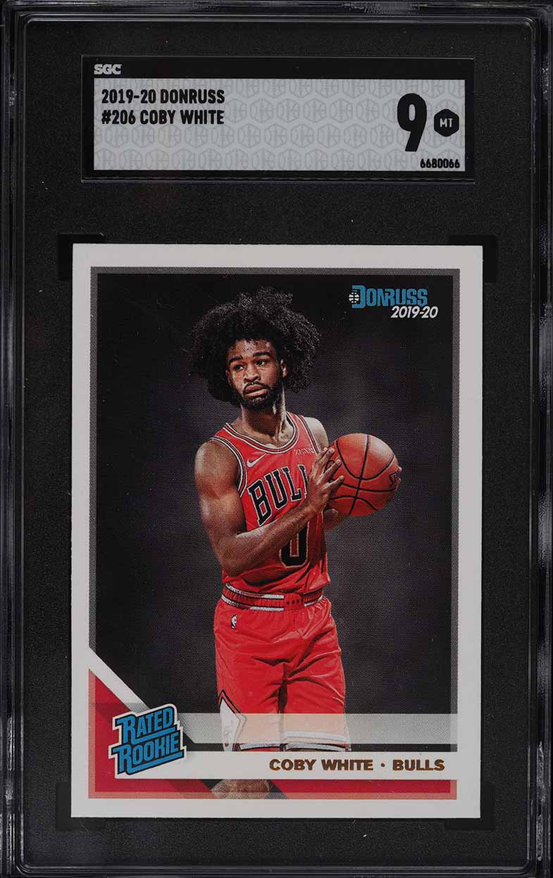 2019 Donruss Basketball Coby White ROOKIE RC #206 SGC 9 MINT - Image 1