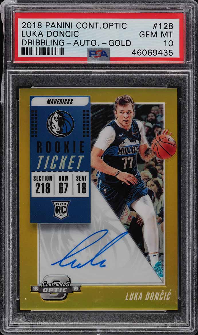 2018 Panini Contenders Optic Gold Luka Doncic ROOKIE RC AUTO /10 PSA 10 GEM MINT - Image 1