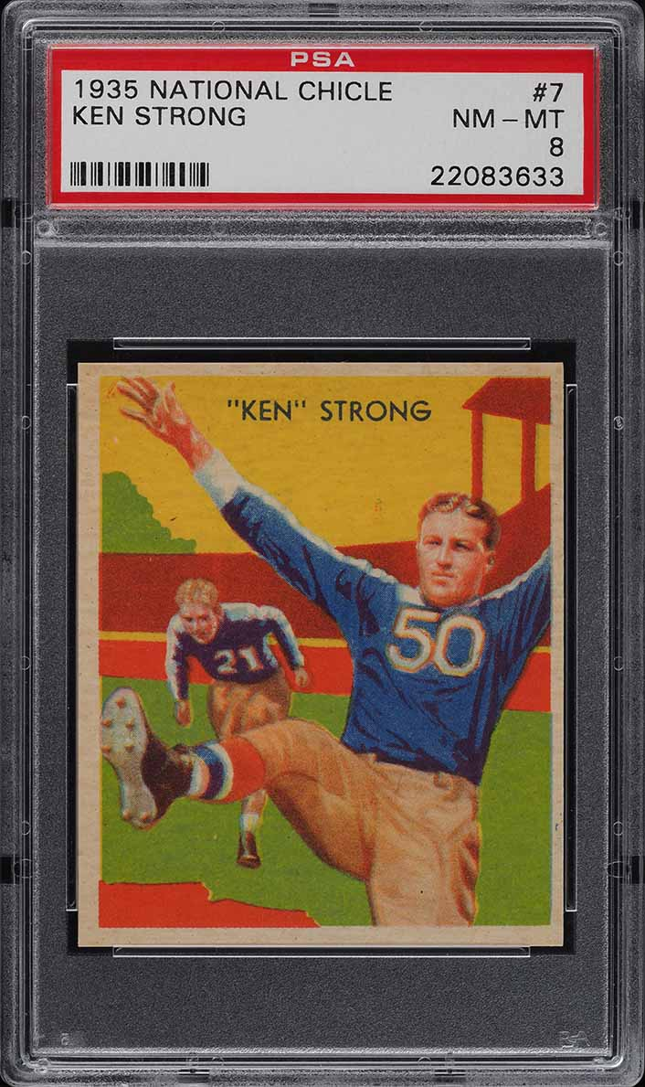 1935 National Chicle Football Ken Strong ROOKIE RC #7 PSA 8 NM-MT (PWCC) - Image 1