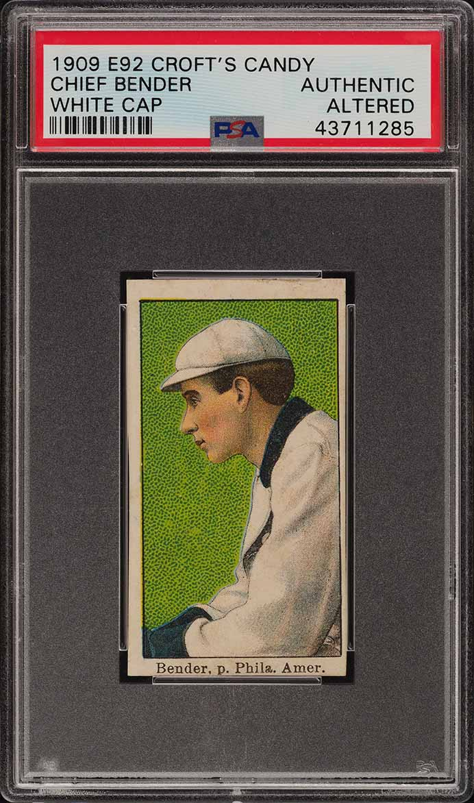 1909 E92 Croft's Candy Chief Bender WHITE CAP PSA Altered (PWCC) - Image 1