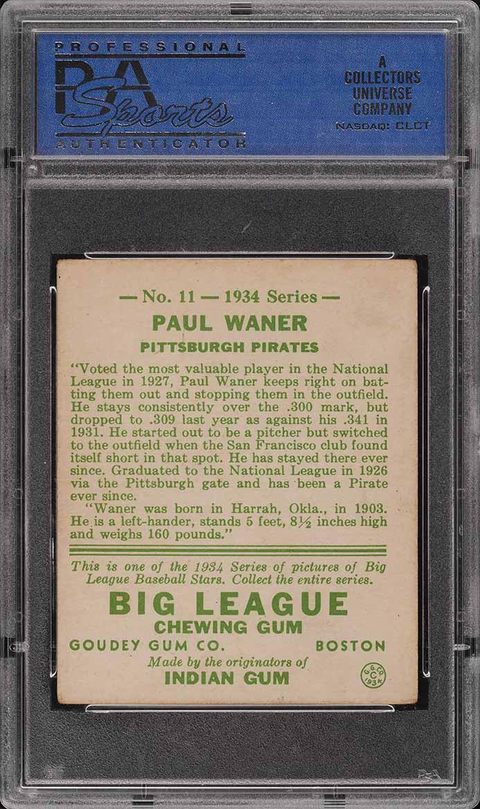 1934 Goudey Paul Waner #11 PSA 3 VG - Image 2