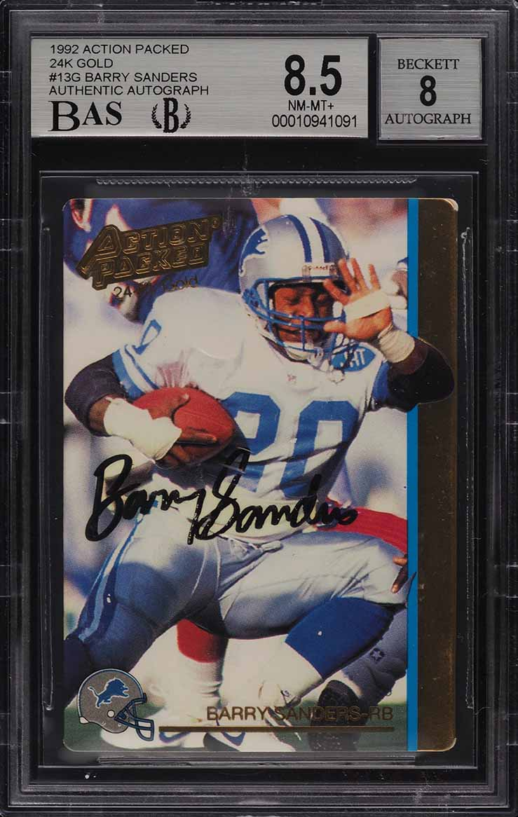1992 Action Packed 24K Gold Barry Sanders AUTO #13G BAS BGS 8.5 NM-MT+ (PWCC) - Image 1