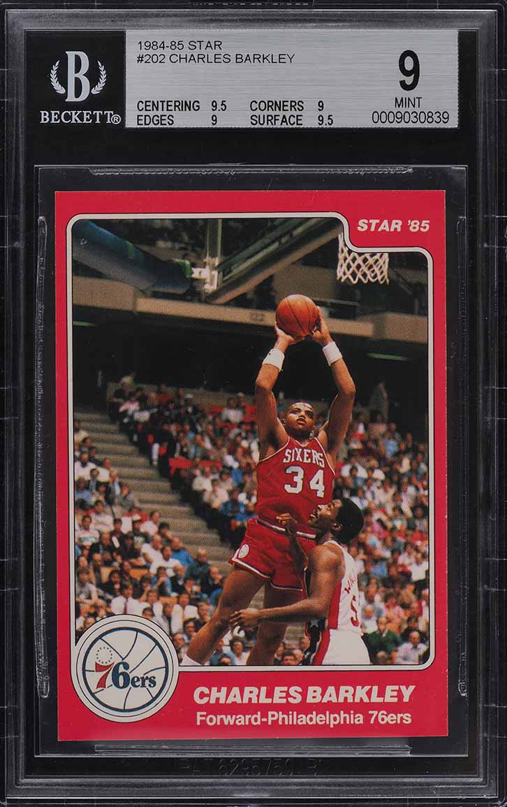 1984-85 Star Basketball Charles Barkley ROOKIE RC #202 BGS 9 MINT (PWCC) - Image 1