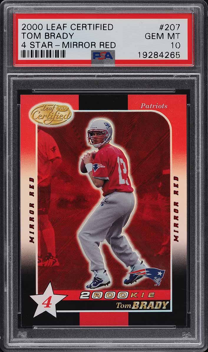 2000 Leaf Certified 4 Star Mirror Red Tom Brady ROOKIE RC #207 PSA 10 GEM MINT - Image 1