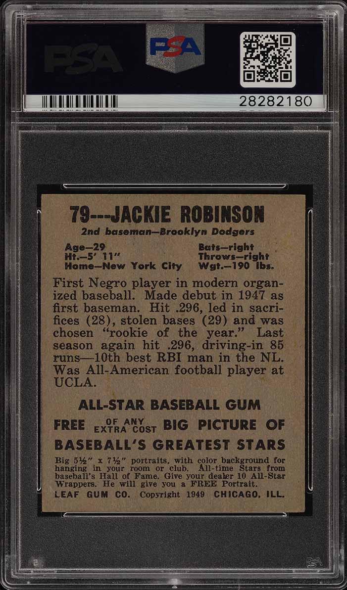 1948 Leaf Jackie Robinson ROOKIE RC #79 PSA 5 EX (PWCC) - Image 2