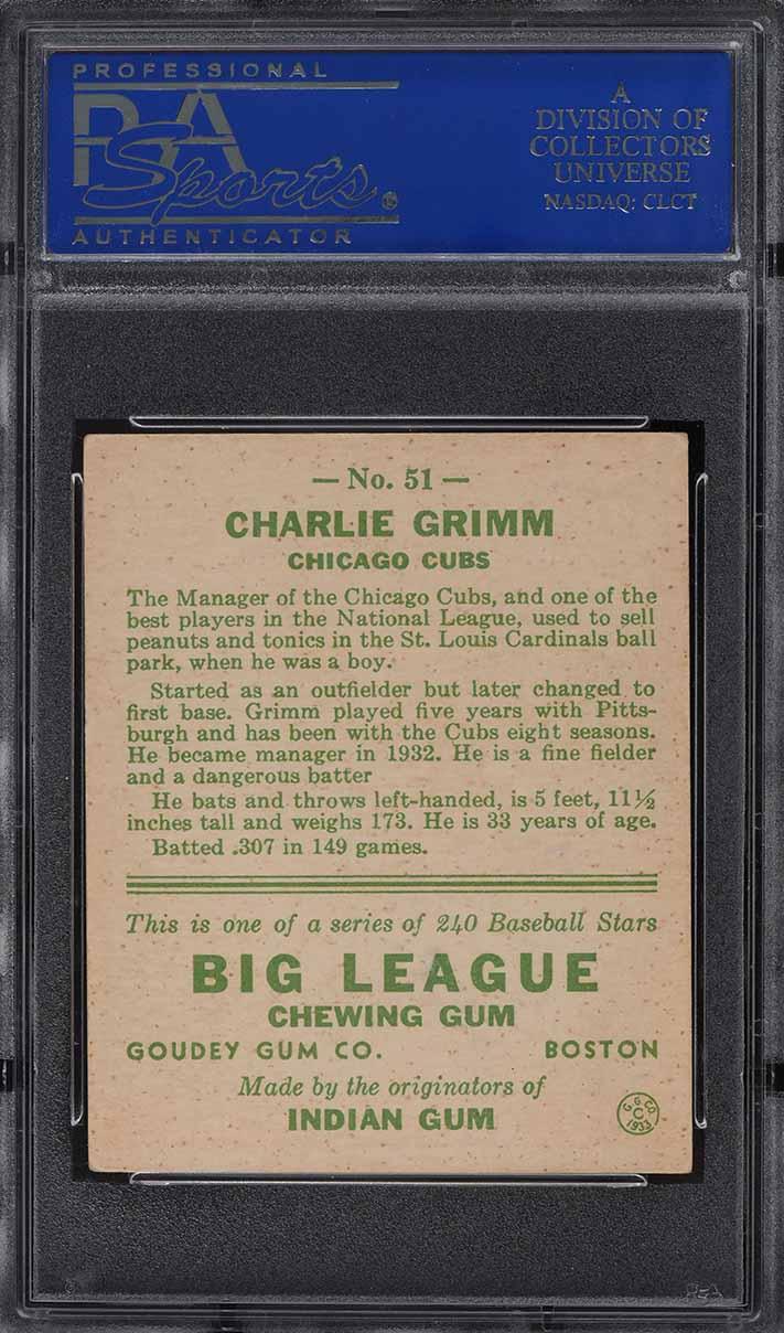 1933 Goudey Charlie Grimm #51 PSA 6 EXMT - Image 2