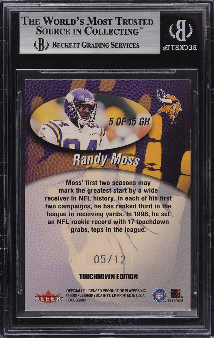 2000 Fleer Focus Good Hands TD Edition Randy Moss /12 #5 BGS 8.5 NM-MT+ - Image 2
