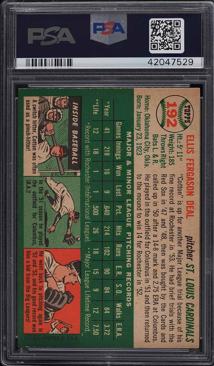 1954 Topps Cot Deal #192 PSA 9 MINT - Image 2